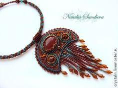 Лунница - авторские украшения,оберег,кулон,Вышивка бисером,натуральные камни