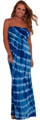 Strapless Tie Dye Printed Ruched Empire Waist Full Length Maxi Summer Sun Dress for only $36.99