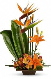 Do you know what an Ikebana is? Ikebana is the art of . Contemporary Flower Arrangements, Tropical Flower Arrangements, Church Flower Arrangements, Beautiful Flower Arrangements, Beautiful Flowers, Deco Floral, Arte Floral, Floral Design, Exotic Flowers