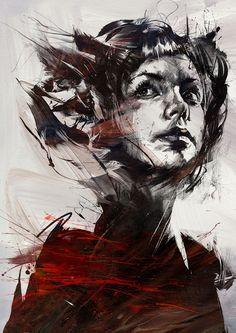 female illustration by russ mills