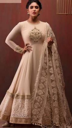 Beautiful anarkali dress made of viscose. Embellished with hand embroidery and Chikenkari work. Paired with chickenkari dupatta. Kurta Designs, Kurti Designs Party Wear, Churidhar Designs, Blouse Designs, Indian Gowns Dresses, Pakistani Bridal Dresses, Designer Anarkali Dresses, Designer Dresses, Designer Wear
