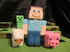 Characters to fashion for top of Minecraft cake Minecraft Party, Minecraft Cake, Cupcakes, Cupcake Cakes, Video Game Cakes, Foundant, Character Cakes, Cake Decorating Supplies, Just Cakes