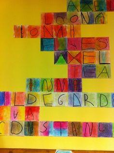 Créations à partir des prénoms...: à partir de Klee: autant de feuilles que de lettres, 2 craies sèches frottées+feutre noir Posca