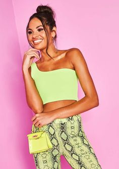8ab053163cd Missyempire - Jenna Neon Green One Shoulder Crop Top Neon Green, Strapless  Dress, One