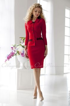 "Stylish hot red two-piece christmas suit ""Red wine"" Consists of jacket with lace and pencil skirts! Source by g_lolita clothes suit Beautiful Prom Dresses, Elegant Dresses, Beautiful Outfits, Nice Dresses, Maxi Dresses, Womens Dress Suits, Suits For Women, Clothes For Women, Ladies Suits"