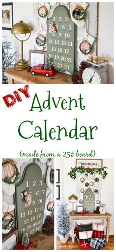 Easy DIY Advent Calendar with scrap wood, metal numbers and small cup hooks!
