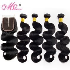 Lace Closure With Human Hair Bundles 4 Pcs/Lot Brazilian Body Wave Hair With Lace Closure Mshere Hair Non Remy Hair Extensions  Price: 76.99 & FREE Shipping  #fashion #sport #tech #lifestyle Hair Extensions Prices, Remy Hair Extensions, Brazilian Body Wave, Body Wave Hair, Peruvian Hair, Lace Closure, Weave Hairstyles, Middle, Hair Products