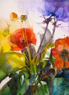 Blumen - Elke Memmler Watercolor Artists, Watercolour Painting, Watercolor Flowers, Watercolor And Ink, Watercolors, Art And Illustration, Great Paintings, Inspiration Art, Art Floral