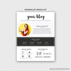 Blogger media kit template photoshop psd instant download all blogger media kit template photoshop psd instant download pronofoot35fo Image collections