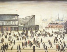 Going to the Match, wonderfully evocative painting by LS Lowry, love the goal end terrace. #football #soccer