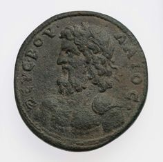 Coin of Mytilene in alliance with Pergamon and Ephesos with bust of Zeus Boulaios. Roman Provincial , A.D. 253–268