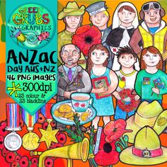 Anzac Day Clip Art - The perfect clip art set to support your classroom discussions and resource creation around the important theme of Anzac Day!  This set contains 46 images (23 colour and 23 blackline) as high quality (300 dpi) PNGs with transparent backgrounds.