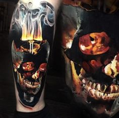 Great Glow In The Dark Tattoo Designs, Make Your Happy Tattoos - We Otomotive Info Skull Tattoo Design, Skull Tattoos, Body Art Tattoos, Sleeve Tattoos, Tatoos, 3d Tattoos, Tattoo Art, Smoke Tattoo, Fire Tattoo