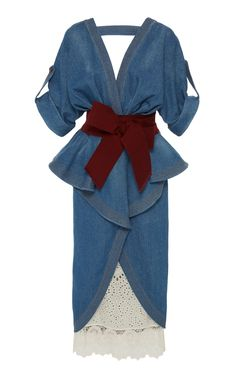 Nuevo Mexicana Denim Trench Coat by JOHANNA ORTIZ for Preorder on Moda Operandi