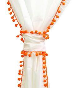 Orange Trim Voile Pom-Pom Panel by Karma Living