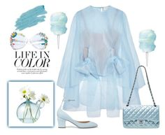 """""""Color of Fashion: Airy Blue"""" by harperleo ❤ liked on Polyvore featuring Delpozo, Chanel, Valentino and Jane Iredale"""