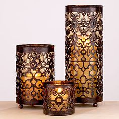 Candle Holders / World Market Moroccan Design, Moroccan Decor, Moroccan Lanterns, Moroccan Style, Candle Lanterns, Pillar Candles, Hurricane Candle, Tuscan Decorating, Tuscan Style