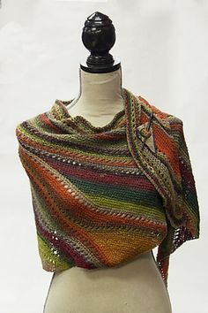 """mirigurumi: """" Ravelry: TRIO's Bermuda Shawl """"  Use long stripe yarn. And teach a short row class with wrap n turns and don't do the pick ups or do"""