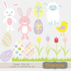Easter clip art for card making, invitations, scrapbooking, photographers commercial use $5