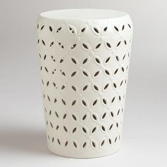 White Lili Punched Drum Stool | world market