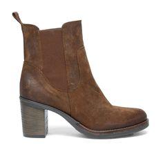 Chelsea boots avec talon cubain - marron