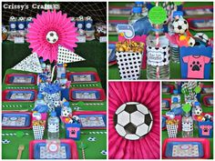 A Girls Soccer Party was hosted to celebrate an awesome soccer season. Great food, great fun and decorations to match the girls' uniforms. Soccer Birthday Parties, Soccer Party, Sports Party, Birthday Party Themes, Girl Birthday, 11th Birthday, Girls Soccer Team, Girls Party Decorations, Quinceanera Party