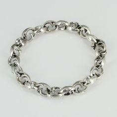 "MANSONDAVID Biker Bracelet 925 Sterling Silver Man Woman Chain Link Bracelet 8"" #MANSONDAVID #Chain"