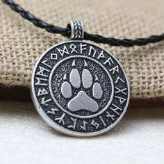 Nordic Vikings Rune Bear Print Talisman Amulet Necklace