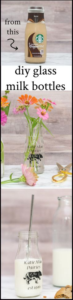 Upcycle used Starbucks Frappuccino bottles to make personalized DIY glass milk bottles, perfect for flower arrangements or special 'cup' or party favor.