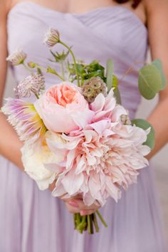 Pink Dahlia and peony Bridesmaid's Bouquet