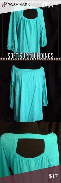 """Soft Surroundings - Peephole Back - Turquoise Top AWESOME - Great back interest - 100% cotton & very comfortable - Chest 48"""" & length 27"""" - WONDERFUL COLOR that anyone can wear! Soft Surroundings Tops"""