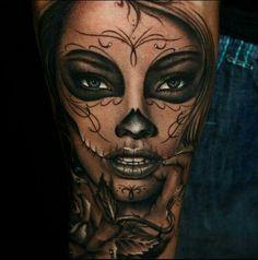 Badass - beautiful face - day of the dead - women - tattoo