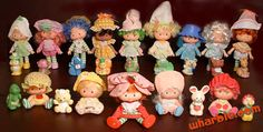 Strawberry Shortcake - My sister and I used to collect these sweet-scented plush dolls...Strawberry Shortcake, Lemon Meringue, Blueberry Muffin, Orange Blossom, Angel Cake, Plum Puddin', Apple Dumplin, Crepe Suzette and Purple Pieman!