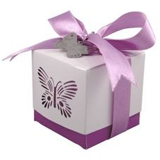 Purple Butterfly Favour Box