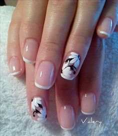manicure - Have glowing looking nails with this elegant French tips. Using light pink as base, the nails are thinly tipped in white. The other nails are accented with white and black floral designs, which is pleasing to the eye. Flower Nail Designs, French Nail Designs, Flower Nail Art, Nail Art Designs, Nails Design, Floral Designs, French Manicure With Design, Fancy Nails, Trendy Nails