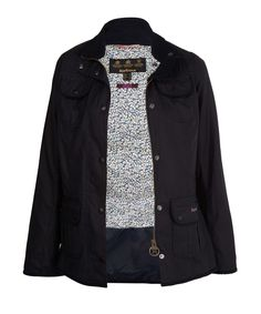 Barbour Navy Utility Liberty Print Jacket available at Liberty.co.uk
