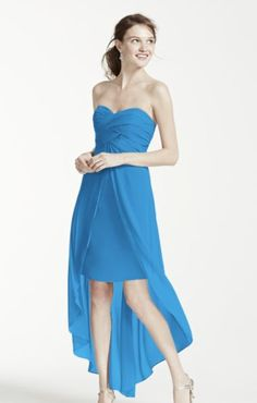 291d29fd96cd1 David s Bridal strapless high low dress with split front detail High Low  Bridesmaid Dresses