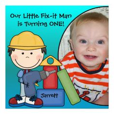 A little black haired construction worker in a yellow hard hat with a drill and several other construction workers with areas you can easily customize with your child's photo and birthday party specifics on Little Fix-It Man birthday invitations! #birthday #kids #construction #fix #it #man #customized #custom #childrens #peacockcards #cute #fun #colorful #add #photo #photo #personalized