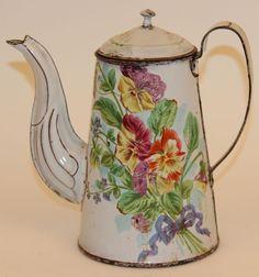 FRENCH ENAMELWARE COFFEE POT FLORAL W/BUTTERFLY   eBay