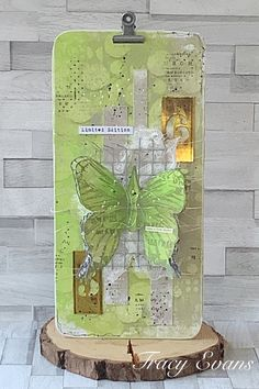 """Mixed Media Plaque using Tracy Evans Stamp """"Nature Elements"""" from AALLandCreate December 11, 8th Of March, Butterfly Cards, Flower Cards, Miss You Cards, Ranger Ink, Tim Holtz, Tag Art, Colored Pencils"""