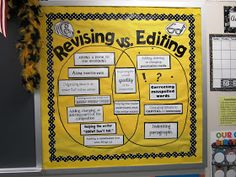 Revising v. Editing- Make as a bulletin board or as a class activity, give all the ideas on the board and have kids sort into correct placements.