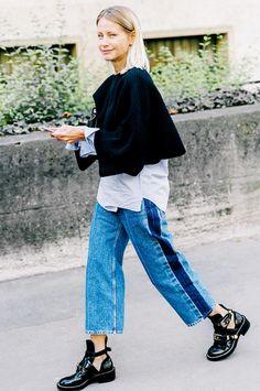 best two-tone jeans - fashion week street style