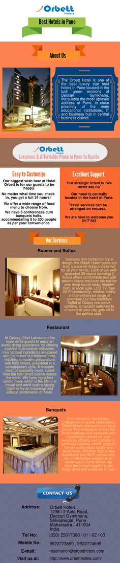 Enjoy the best luxury at affordable prices at Orbett Hotels which is one of the best hotels in Pune which also offers an exotic dining experience, banquets, restaurant, deluxe rooms and suites as well as meeting rooms for business conferences.