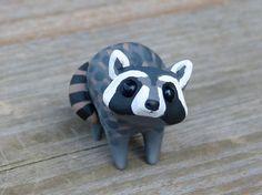 Tiny raccoon Handmade miniature polymer clay by AnimalitoClay, $28.00