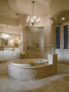 Bath, instead of the glass wall around to the shower I would want stone.