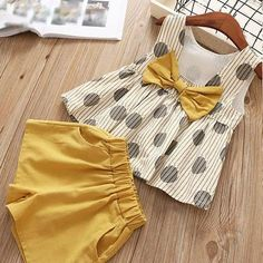 Girls-Summer-Casual-Elegant-Comfy-Suit-Set-Kids-Clothes clothing fashion Girls Summer Clothes Casual Suit Elegant Comfy Set Pink And Yellow Girls Summer Outfits, Little Girl Outfits, Little Girl Dresses, Baby Outfits, Little Girl Clothing, Baby Dresses, Summer Girls, Girls Dresses, Baby Girl Fashion