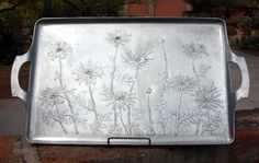 Vintage Hammered Aluminum Wendell August Tray with Daises | eBay [40.00sold]