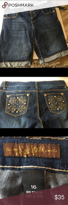 South Pole Long Jean Shorts South pole Jean long shorts  Dark jean Jewels 💎 on back two pockets  Only wore once  Size 16 Stretchy  Stone washed color   Same day shipping if ordered by 4pm weekdays only  Smoke free and pet free home South Pole Shorts Jean Shorts