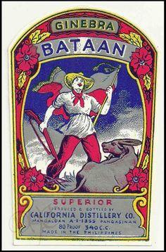 Philippines 1970s GINEBRA BATAAN Gin Bottle Label MANGALDAN Pangasinan