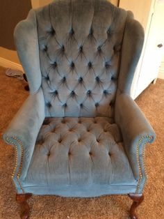 Matching tufted wingback chairs